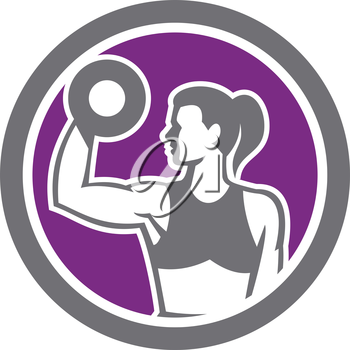 Illustration of a woman lifting dumbbell weights with one hand looking to the side set inside circle on isolated background done in retro style.