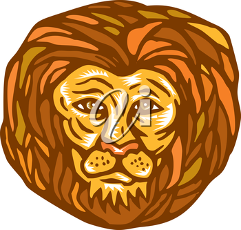 Illustration of an lion big cat head facing front on isolated white background done in retro woodcut linocut style.
