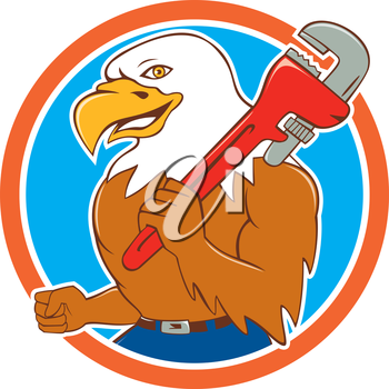 Illustration of a bald eagle plumber smiling holding monkey wrench on shoulder viewed from side set inside circle done in cartoon style.