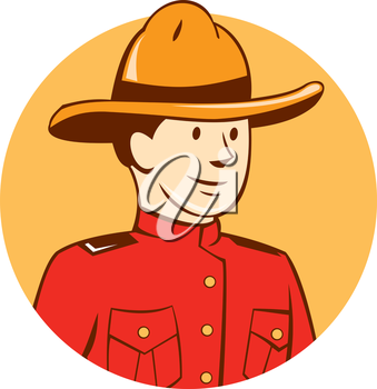 Illustration of a mounted policeman police officer bust looking to the side set inside circle done in cartoon style on isolated background.