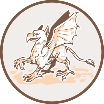 Illustration of an angry griffin, griffon, or gryphon walking prancing viewed from the side set inside circle on isolated white background done in cartoon style.