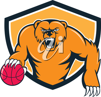 Illustration of a grizzly bear angry growling dribbling basketball viewed from front set inside shield crest on isolated background done in cartoon style.