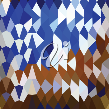 Low polygon style illustration of navy blue abstract background.