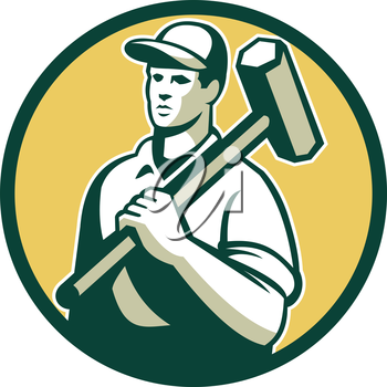 Illustration of a demolition worker wearing hat holding sledgehammer on shoulder looking to the side set inside circle on isolated background done in retro style.