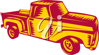 Illustration of a vintage classic pick-up truck viewed from side set on isolated white background done in retro woodcut style.
