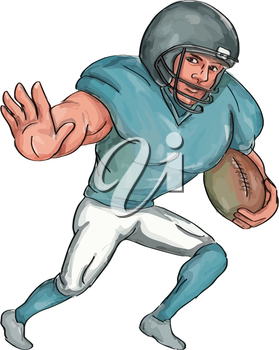 Caricature illustration of an american football player carrying ball with stiff arm forward defending viewed from front set inside on isolated white background.