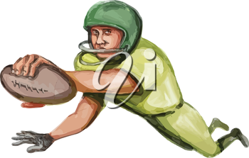 Caricature illustration of an american football player carrying ball doing a touchdown viewed from front set on isolated white background.
