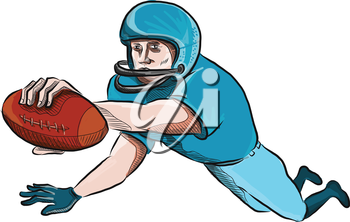Drawing sketch style illustration of an american football gridiron receiver with ball scoring touchdown set on isolated white background.