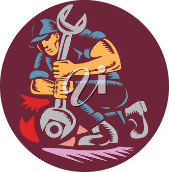 Illustration of a mechanic holding giant wrench unscrewing set inside circle on isolated background done in retro woodcut style.