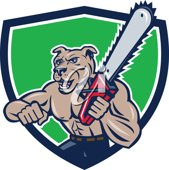 Illustration of mongrel dog lumberjack arborist tree surgeon holding a chainsaw set inside crest on isolated white background done in cartoon style.