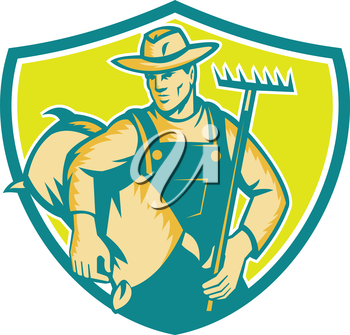 Illustration of organic farmer wearing hat and overalls holding rake and carrying sack viewed from the front set inside shield crest done in retro woodcut style.