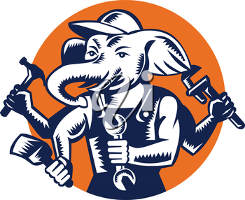 Illustration of an elephant builder plumber mechanic repairman with 4 hands holding hammer wrench spanner and brush set inside circle done in retro woodcut style.