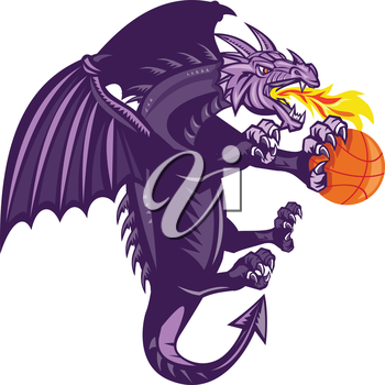 Illustration of a purple dragon breathing fire clutching holding an orange basketball viewed from the side set on isolated white background done in retro style.