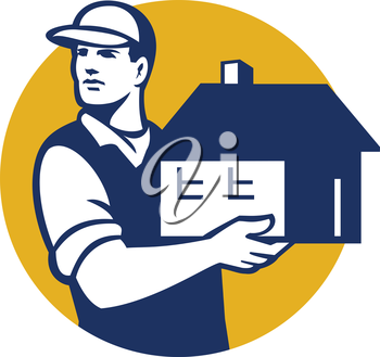 Illustration of a house mover handling holding house looking to the side set inside circle on isolated background done in retro style.