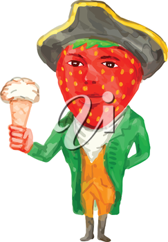 Watercolor style illustration of a victorian gentleman with strawberry head wearing tricorn hat holding ice cream facing front set on isolated white background.