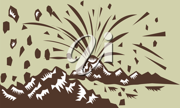 Illustration of a volcano erupting volcanic eruption resulting to island formation done in retro woodcut style.