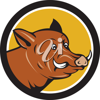 Illustration of a startled wild pig boar razorback head viewed from the side set inside circle done in cartoon style.
