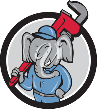 Illustration of an african elephant plumber mascot holding monkey wrench on shoulder set inside circle on isolated background done in cartoon style.