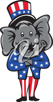Illustration of an American Republican GOP elephant mascot standing and arms crossed wearing usa stars and stripes top hat and suit viewed from front set inside circle on isolated background done in c