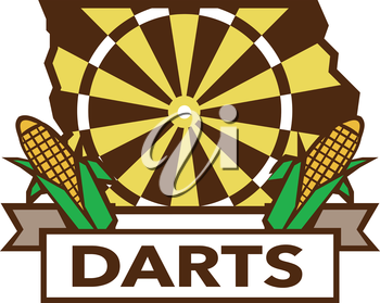 Illustration of a Iowa state map dart board and corn set on isolated white background with the word text Darts done in retro style.