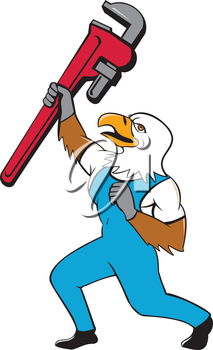 Illustration of a american bald eagle plumber standing with knee bended raising up giant pipe wrench adjustable wrench over head looking up viewed from the side  on isolated white background done in c