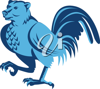 Illustration of a half bear half chicken hybrid marching looking to the side set on isolated white background done in retro style.