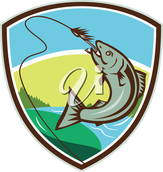 Illustration of trout biting hook lure viewed from the side set inside shield crest with river, trees and sun in the background done in retro style.