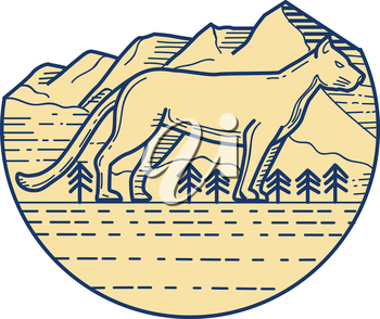 Mono line style illustration of a cougar mountain lion viewed from the side set inside half circle with mountain and trees in the background.