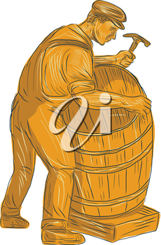 Drawing sketch style illustration of a cooper with hammer making a wooden barrel, cask or bucket viewed from the side set on isolated white background.