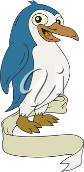 Illustration of a Penguin an aquatic, flightless birds viewed from the side set on isolated white background with ribbon scroll done in cartoon style.