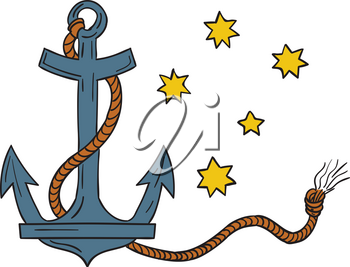 Drawing style illustration of an anchor, a device, made of metal, used to connect a vessel to sea bed to prevent the craft from drifting, with coiled rope and southern cross  star constellation in bac