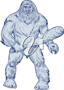 Drawing sketch style illustration of a Bigfoot or Sasquatch, a simian-like creature of American folklore that  inhabit forests, usually described as a large, hairy, bipedal humanoid standing holding c
