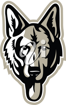 Mascot icon illustration of head of a German Shepherd, Alsatian wolf dog or sometimes abbreviated as GSD, a  breed of large-sized working dog viewed from front on isolated background in retro style.