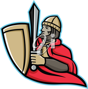 Mascot icon illustration of a medieval king or knight wielding a sword and shield from waist up viewed from side on isolated background in retro style.