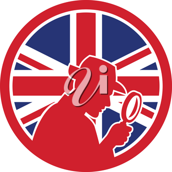 Icon retro style illustration of a British private investigator silhouette with magnifying glass  with United Kingdom UK, Great Britain Union Jack flag set inside circle on isolated background.
