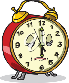 Cartoon style illustration of a vintage bell-style alarm clock character asleep or sleeping with hour hand at six o'clock on isolated background.