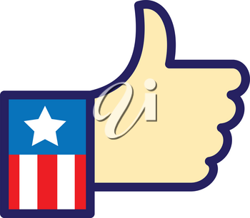 Icon retro style illustration of a hand with USA American stars and stripes flag sleeve with thumbs up or like showing approval on isolated background.