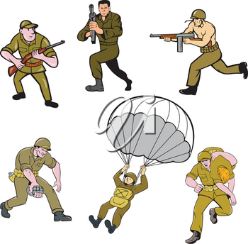 Set or collection of cartoon character mascot style illustration of World War Two American army soldier on isolated white background.