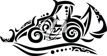 Tribal tattoo style illustration of a backhoe, rear actor or back actor, a type of excavating equipment, or mechanical digger, consisting of a digging bucket on the end of a two-part articulated arm.