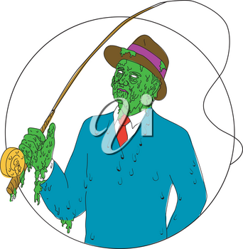 Grime art style illustration of a mobster fisherman wearing suit and tie and fedora hat holding a fly rod reel set inside circle.