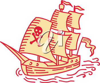Mono line style illustration of a pirate sailing ship galleon viewed from front set on isolated white background.