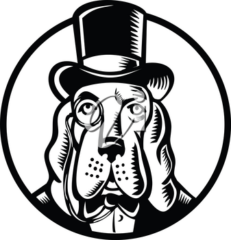 Mascot icon illustration of head of a basset hound wearing monocle glass and top hat, high hat, or topper viewed from front on isolated background in retro woodcut style.