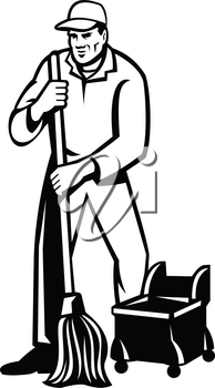 Retro style illustration of an commercial cleaner or janitor with mop mopping cleaning for viewed from front on isolated background done in black and white..