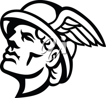 Black and White mascot illustration of head of Hermes, Greek god in religion and mythology with winged cap looking up viewed from side on isolated background in retro style.