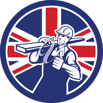 Icon retro style illustration of a British lumberyard worker carrying timber on shoulder with thumbs up with United Kingdom UK, Great Britain Union Jack flag set inside circle on isolated background.