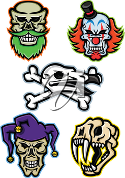 Mascot icon illustration set of skull heads and bones of a bearded hipster skull, whiteface clown skull, vulture or condor with crossed bones, court jester or joker skull and saber-toothed cat  viewed from  on isolated background in retro style.