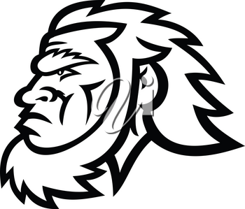 Mascot icon illustration of head of a primitive caveman, Cro-Magnon or neanderthal, an extinct species of archaic humans viewed from side in Black and White retro style.