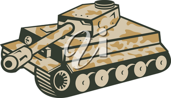 Retro style illustration of German world war two camouflaged panzer battle tank aiming its cannon towards the side on isolated background.