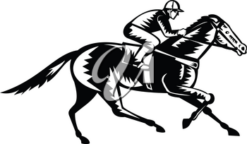 Retro woodcut style illustration of a jockey riding thoroughbred horse racing viewed from side  on isolated background done in black and white.