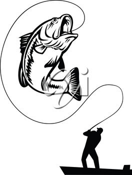 Illustration of a fisherman bass fishing catching a largemouth, largies, northern largemouth, widemouth, bucketmouth or Florida bass, jumping up on isolated background in retro black and white style.